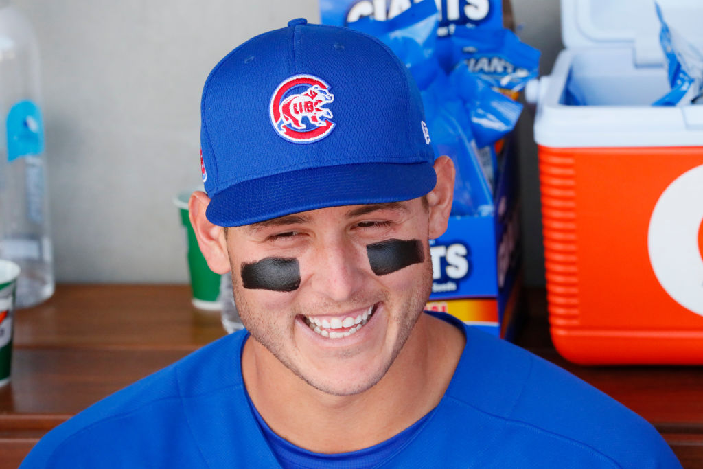 Cubs first baseman Anthony Rizzo looks on from the dugout