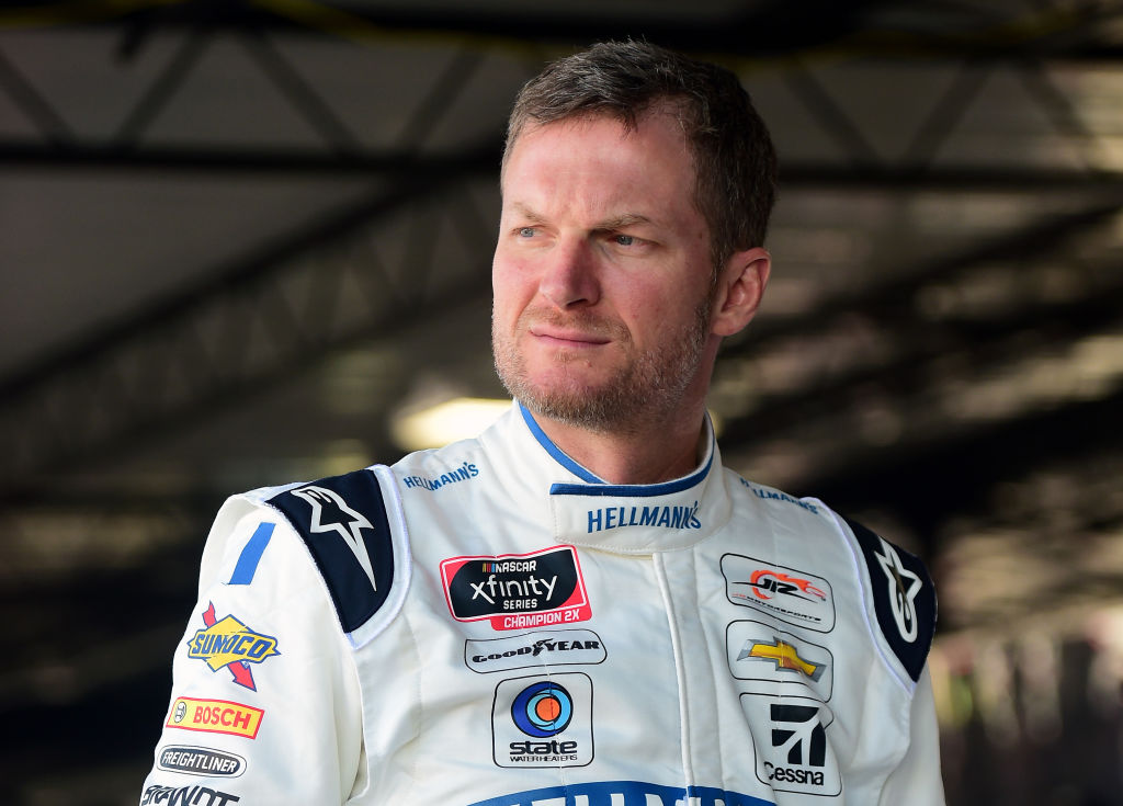 Dale Earnhardt Jr., driver of the Hellmann's Chevrolet, stands in the garage area