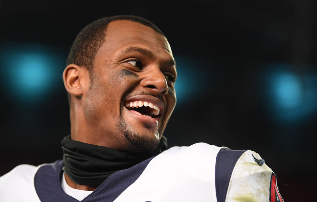 Deshaun Watson smiling before a Houston Texans game