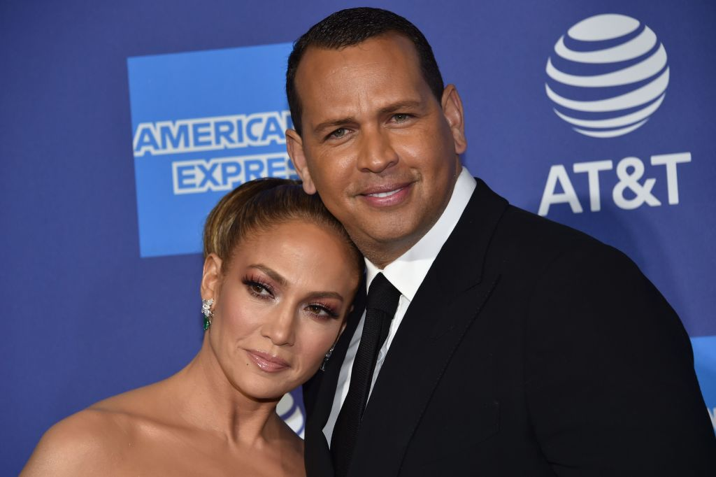 Actress Jennifer Lopez (L) and former MLB player Alex Rodriguez