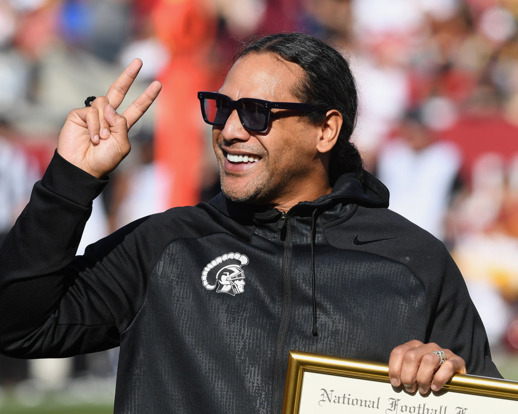 Former USC Trojans safety Troy Polamalu is honored on the field