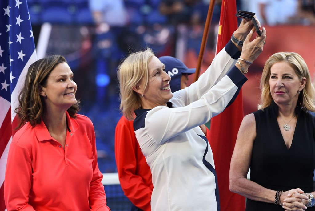 Former champions Martina Navratilova (C), Pam Shriver (L), and Chris Evert take a photo in 2019