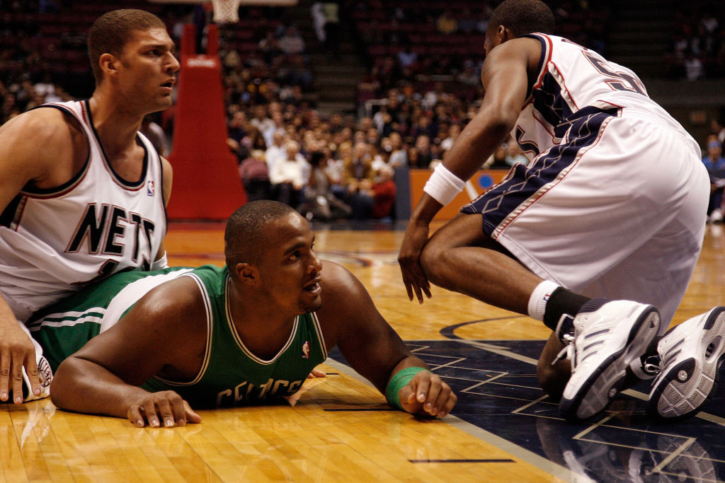 Glen Davis of the Boston Celtics on the floor