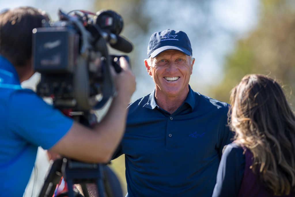 Greg Norman gets interviewed by the Golf Channel in 2017