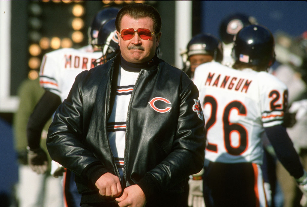 Head Coach Mike Ditka of the Chicago Bears looks on while his team warms up