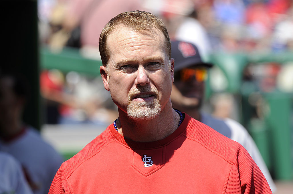 Hitting coach Mark McGwire of the St Louis Cardinals watches a game
