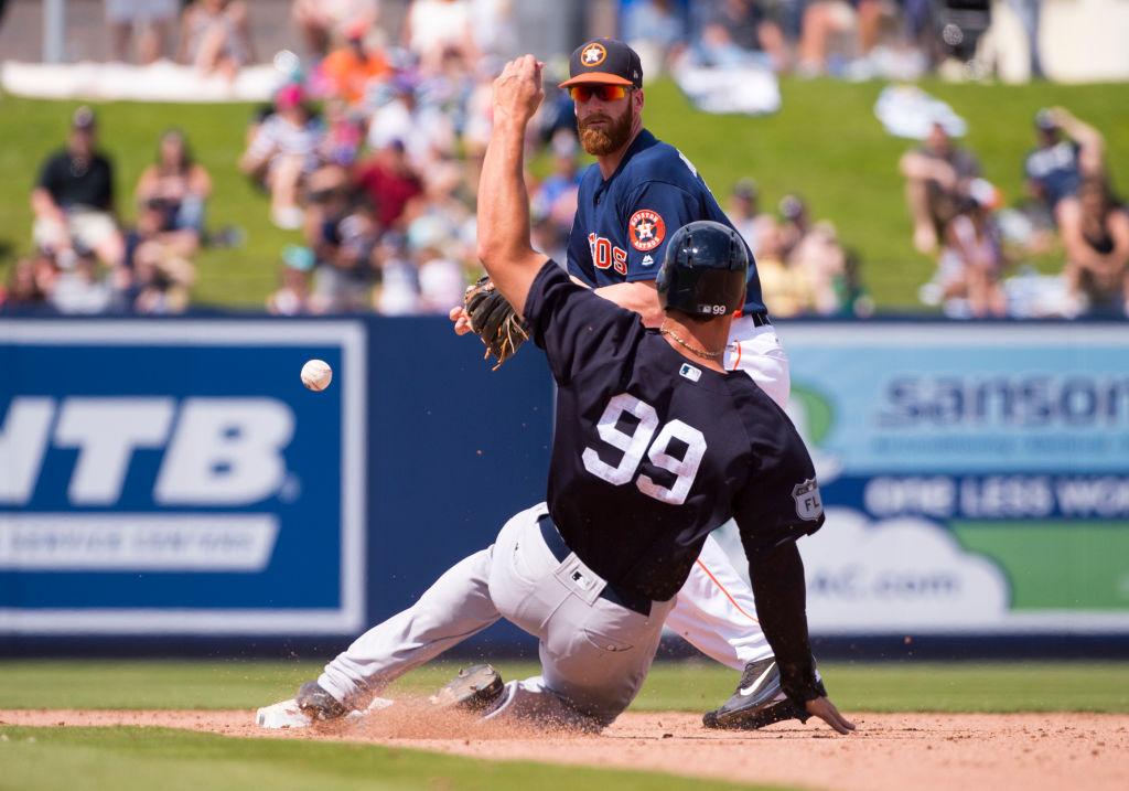 Houston Astros Infielder Colin Moran catches a fly ball