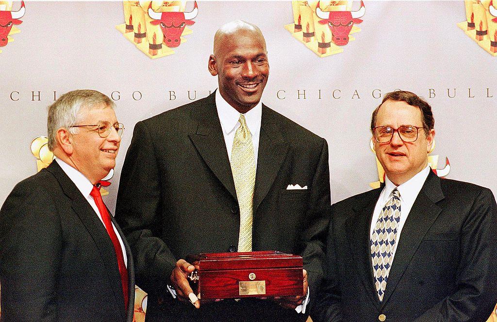 Chicago Bulls owner Jerry Reinsdorf and Michael Jordan