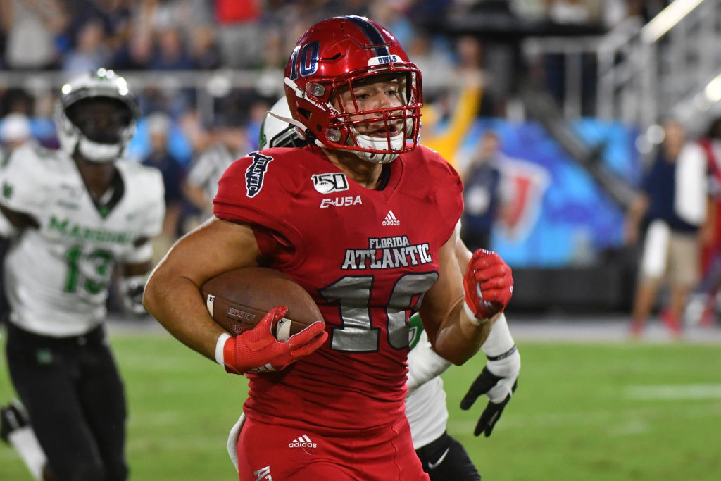 New Northwestern tight end John Raine set career highs in every receiving category at Florida Atlantic last season.