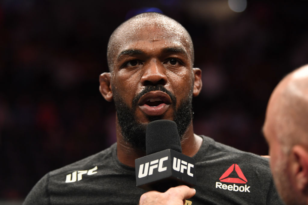 Jon Jones giving a post-fight interview