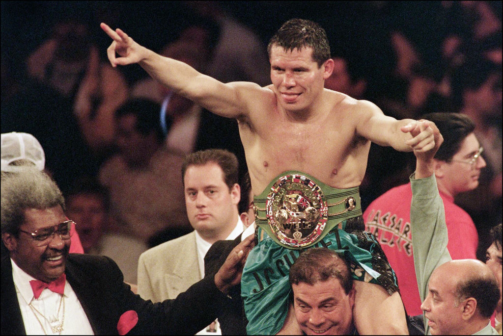 Julio César Chávez celebrating after winning a boxing match