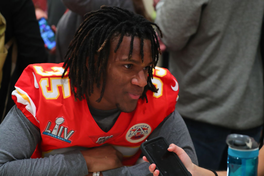 Chiefs cornerback Charvarius Ward during a press conference