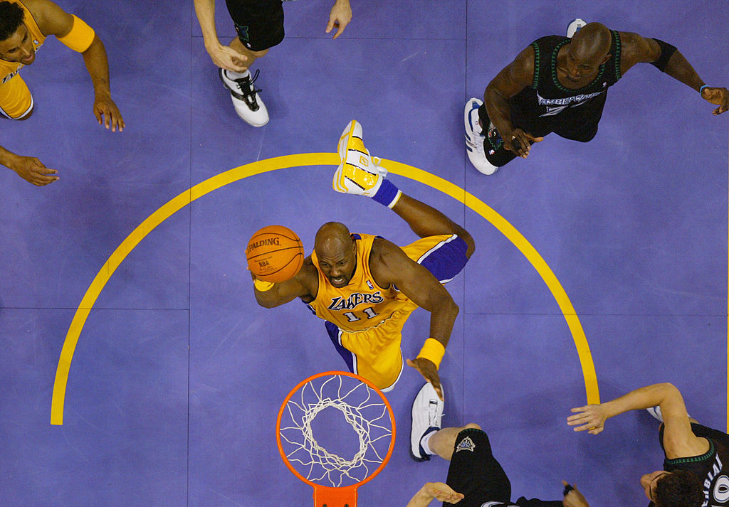 Karl Malone of the Los Angeles Lakers makes a shot attempt