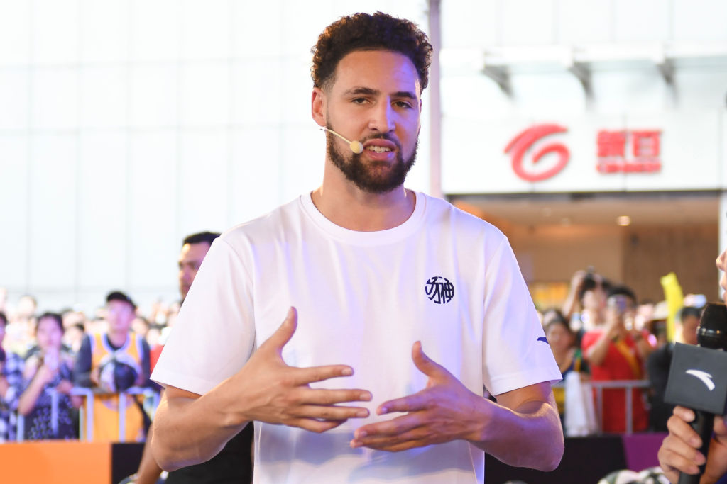 Klay Thompson speaking at a promotional event
