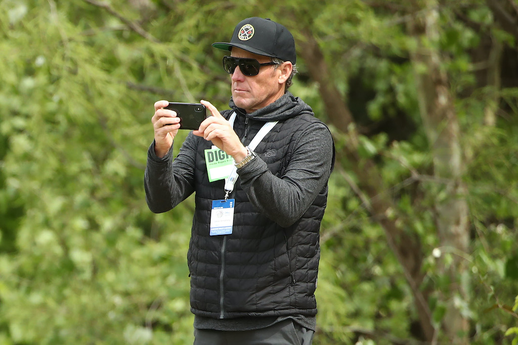 Lance Armstrong looks on during the final round of the 2019 World Golf Championships in Austin