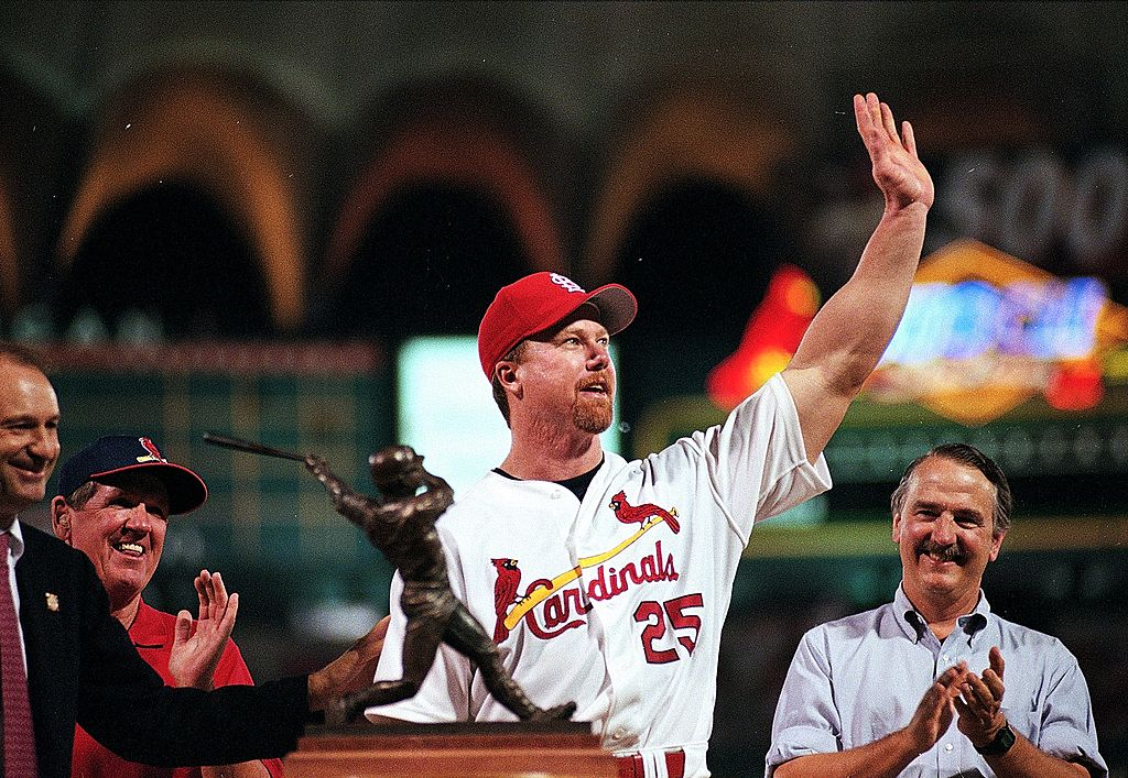 Mark McGwire waving to fans