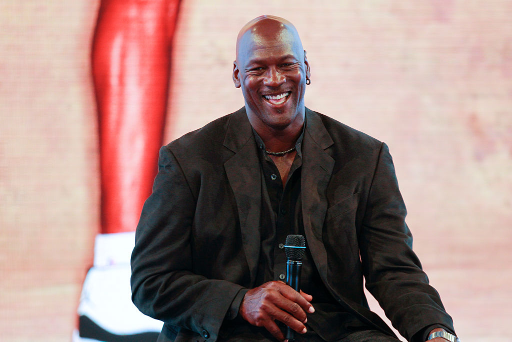 Michael Jordan attends a press conference in 2015