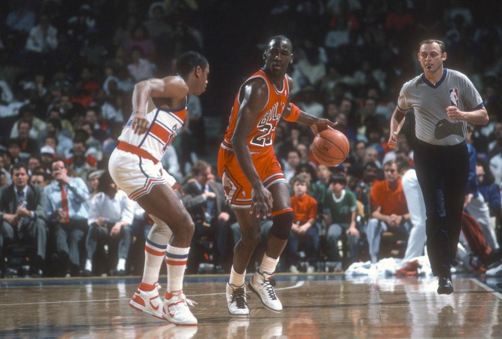 Michael Jordan of the Bulls dribbles the ball