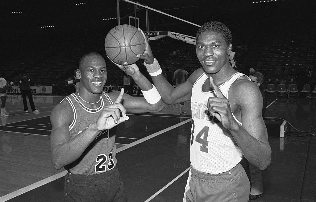 Hall of Famer Michael Jordan and Hakeem Olajuwon