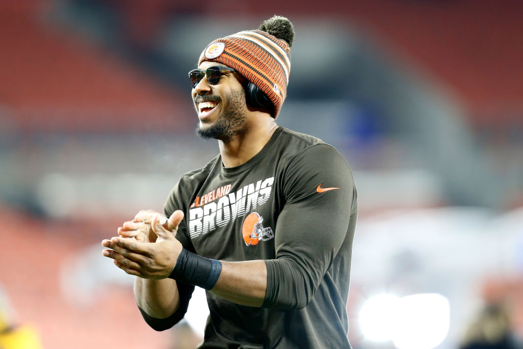 Myles Garrett of the Cleveland Browns warms up
