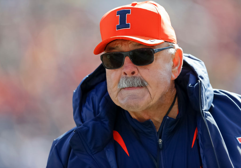 NFL Hall of Famer Dick Butkus is seen during a Illinois Fighting Illini game