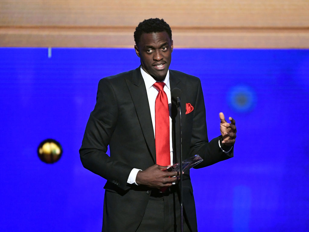Pascal Siakam giving a speech at an awards show