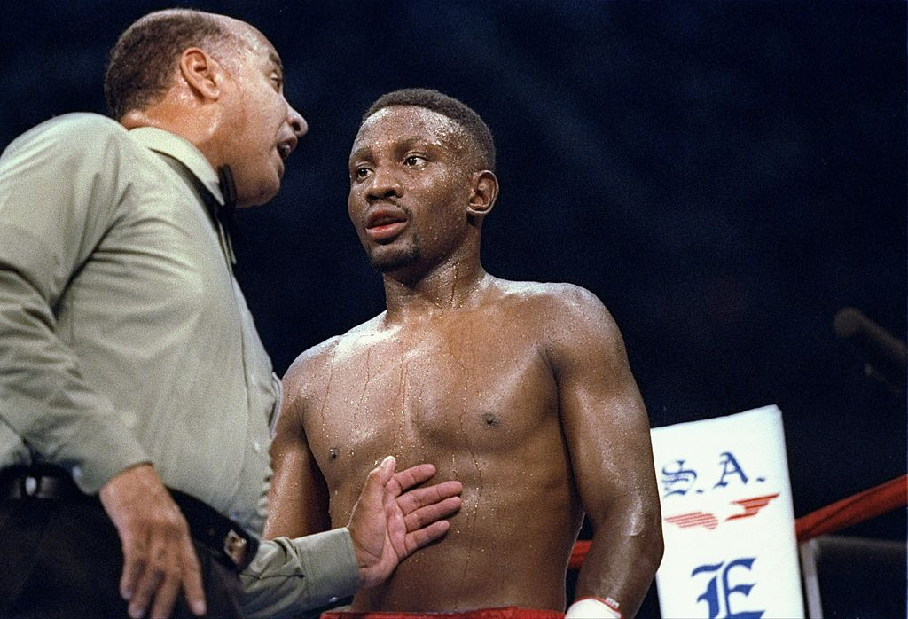 Parnell Whitaker standing in the corner during a boxing match