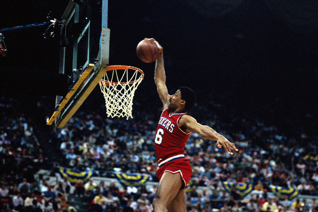 The 76ers' Julius Erving making a basket in 1985