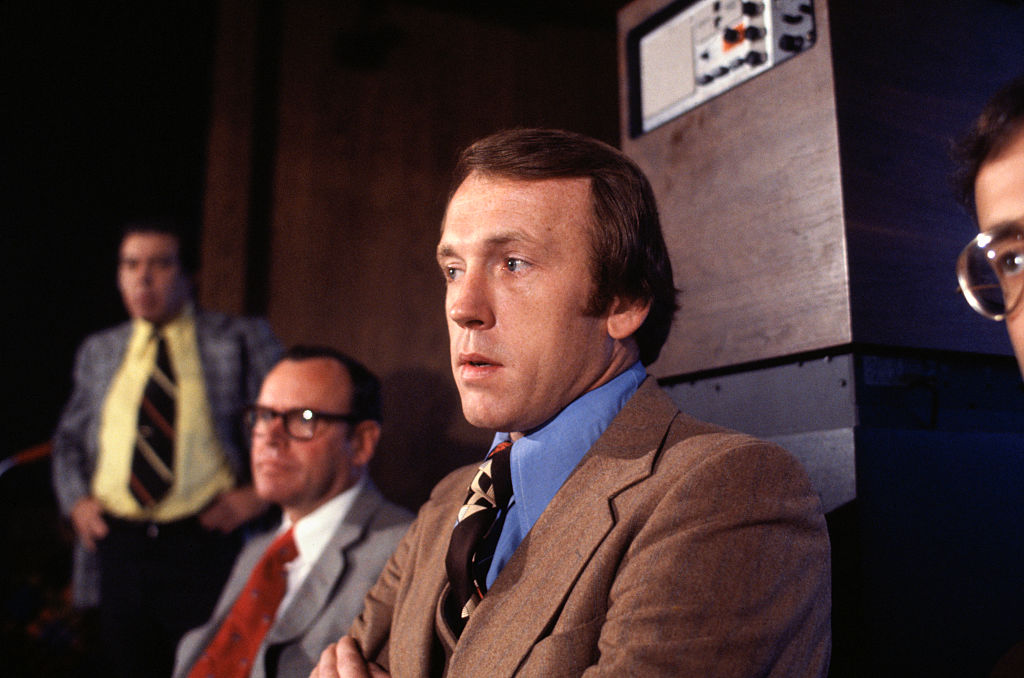 The new coach of the Philadelphia 76ers, Billy Cunningham in 1977