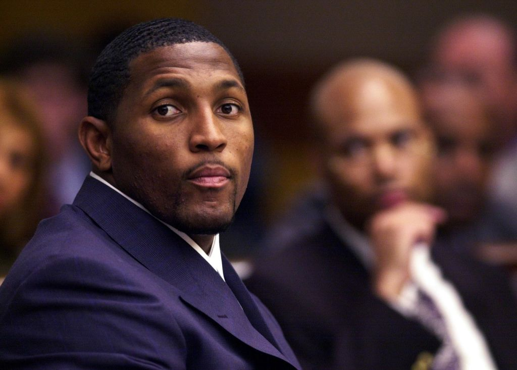 Ray Lewis sitting in a court room