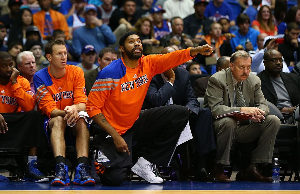 Rasheed Wallace of the New York Knicks cheers on his team