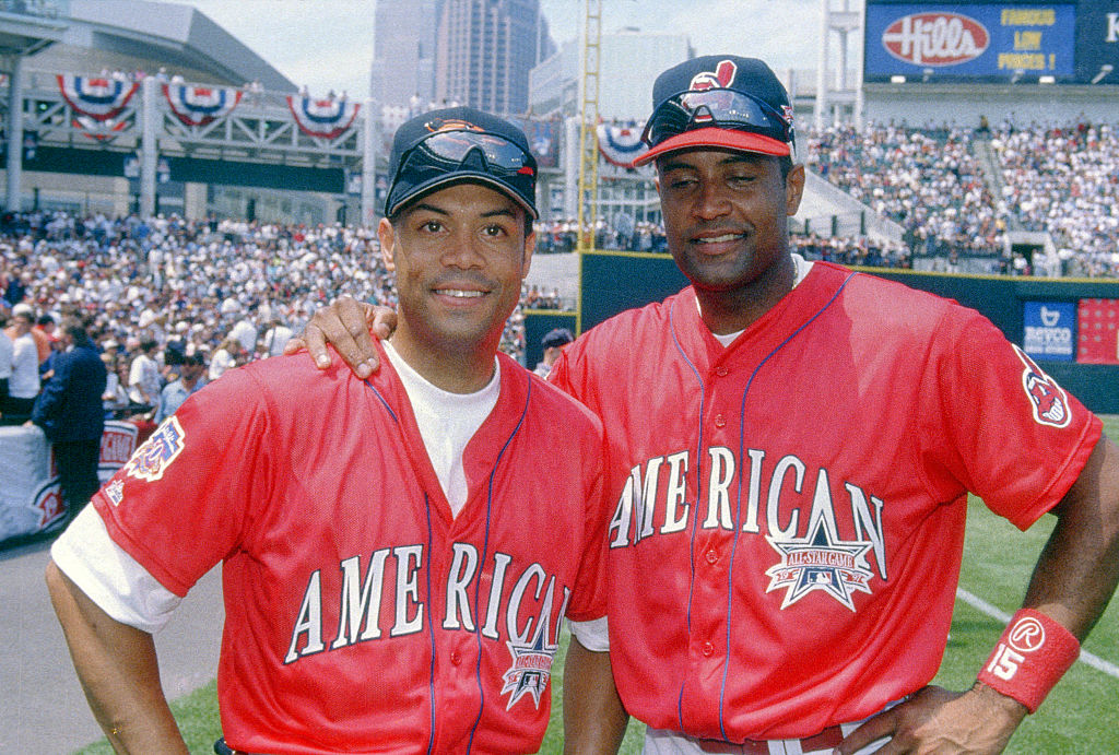 Roberto Alomar of the Baltimore Orioles with his brother Sandy Alomar Jr. of the Cleveland Indians