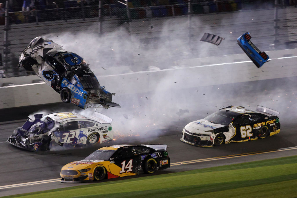 Ryan Newman's Ford, flips over as he crashes during the 62nd Daytona 500. | Chris Graythen/Getty Images