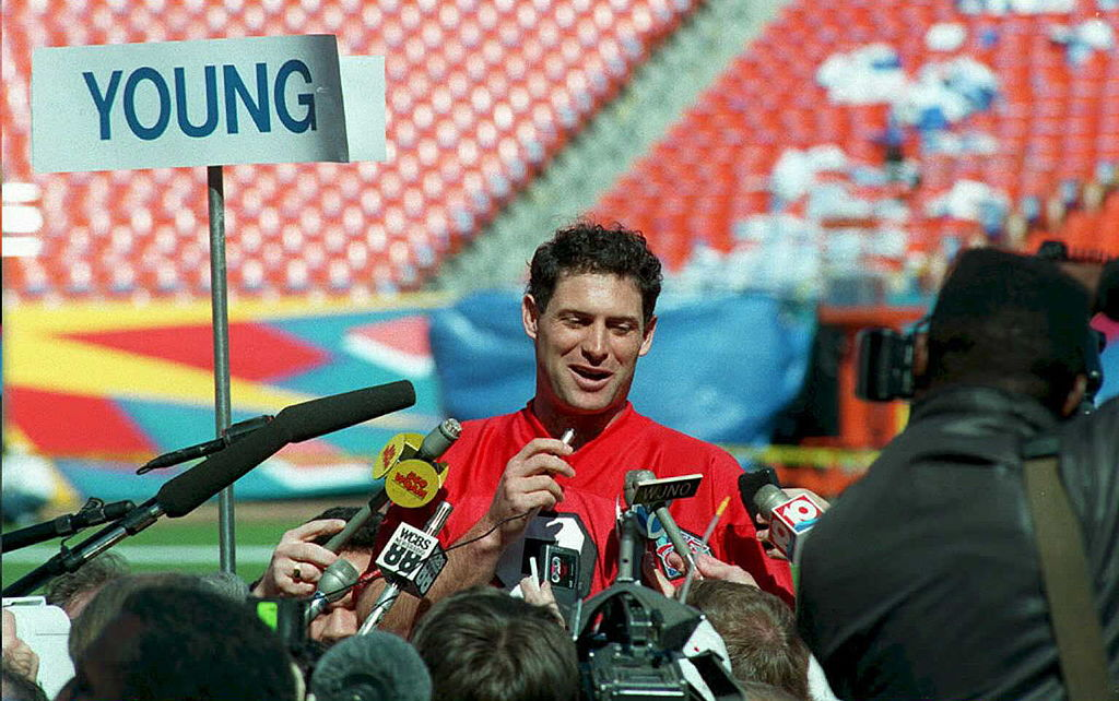 San Francisco 49ers quarterback Steve Young answers questions from the press