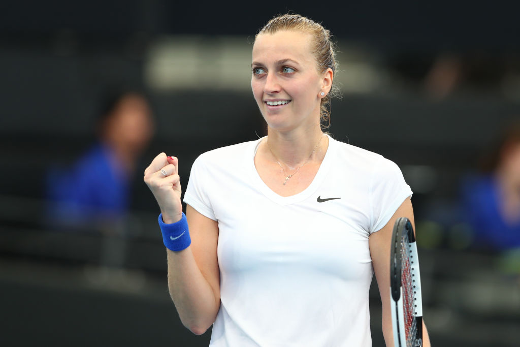 Petra Kvitova celebrates a win in 2020