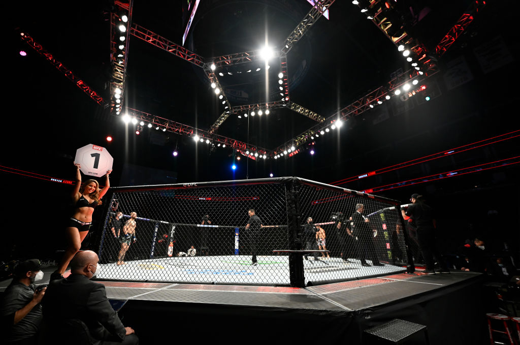 A UFC ring lit up before a fight