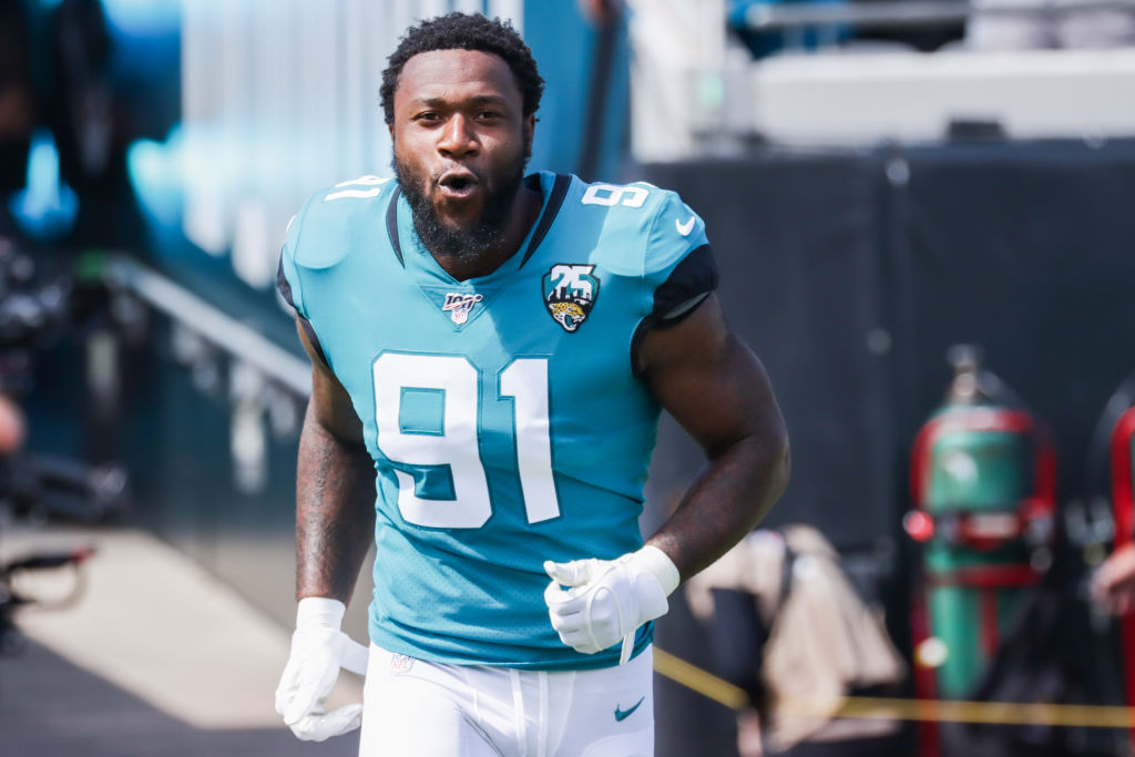Yannick Ngakoue of the Jacksonville Jaguars charges onto the field