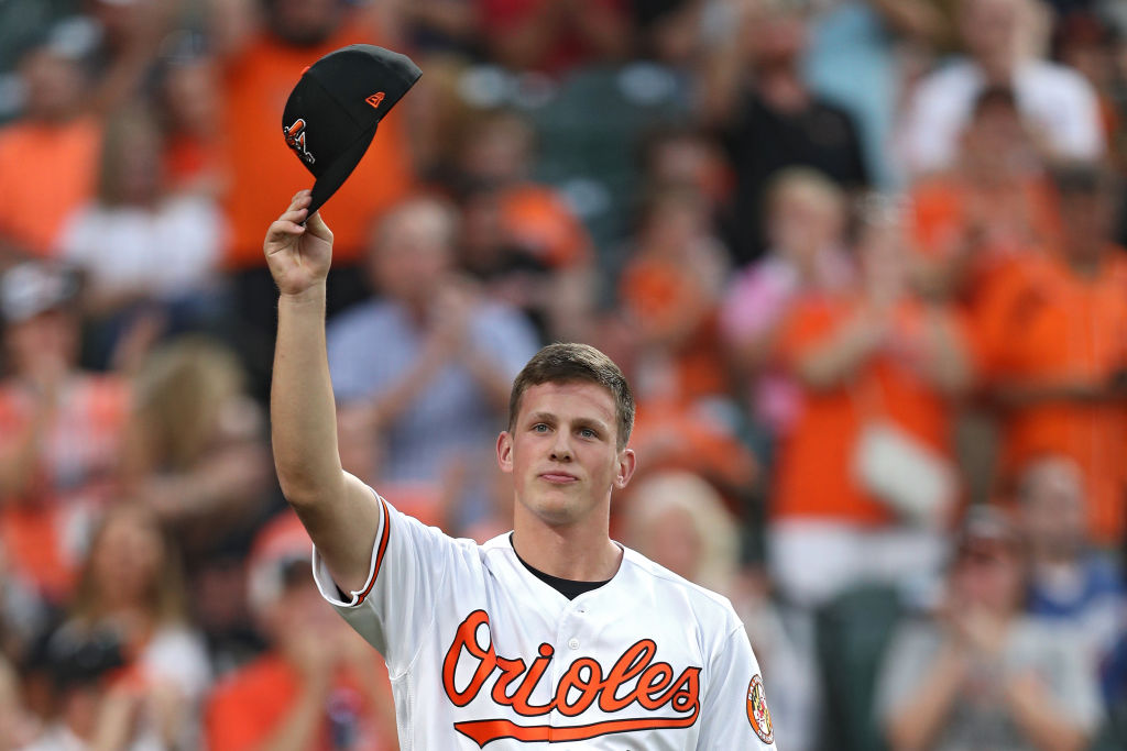 Adley Rutschman of the Baltimore Orioles acknowledges the crowd