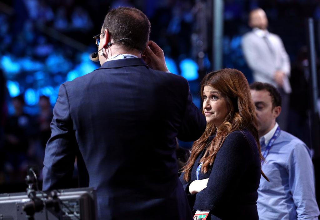 Adrian Wojnarowski on set for an NBA television show
