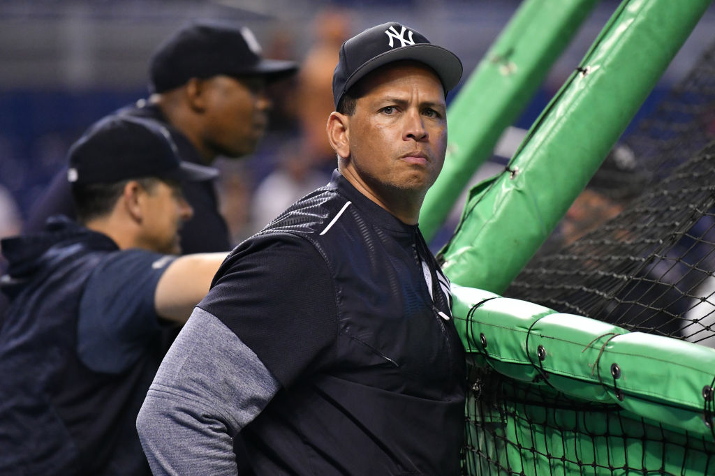Alex Rodriguez before a game in 2018