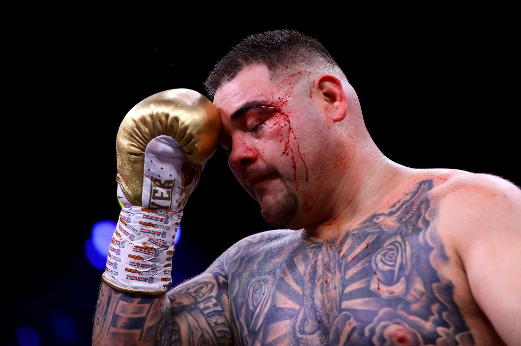 Andy Ruiz Jr holding his left eye after taking a punch