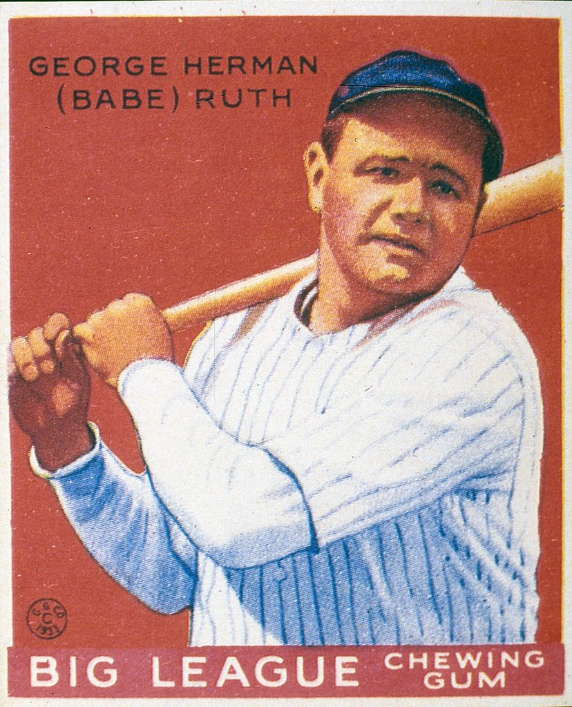 There were four variations of the 1933 Babe Ruth trading card produced by the Goudey Gum Company. | Transcendental Graphics/Getty Images