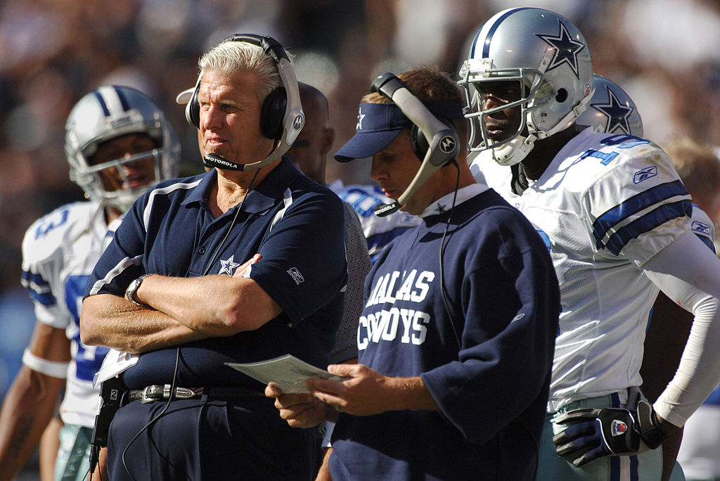 Former Dallas Cowboys coach Bill Parcells (L) saved future Saints head coach Sean Payton's career in 2003.