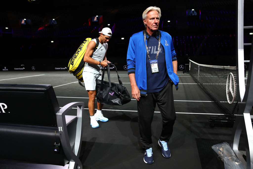 Björn Borg, Captain of Team Europe and Rafael Nadal of Team Europe leave the court