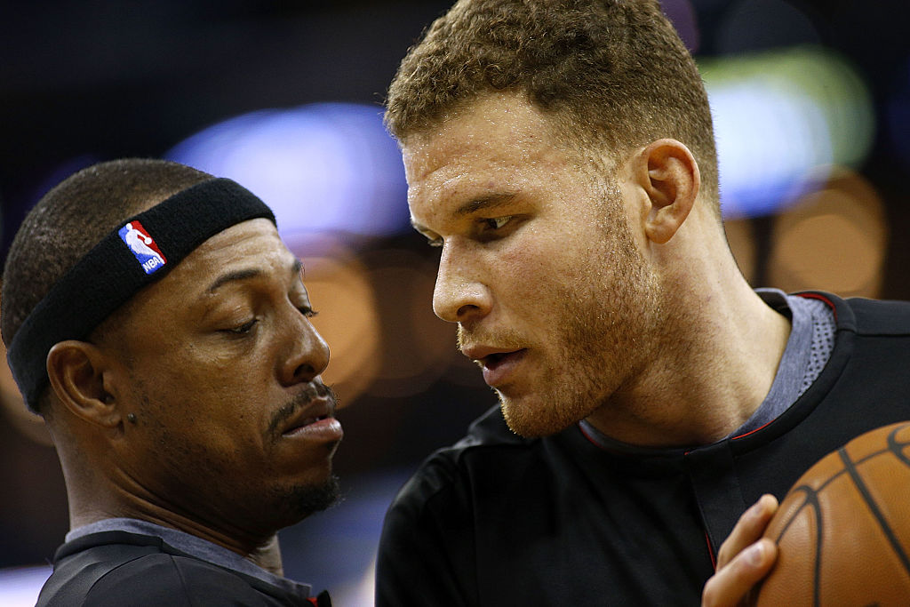 Blake Griffin and Paul Pierce warm up