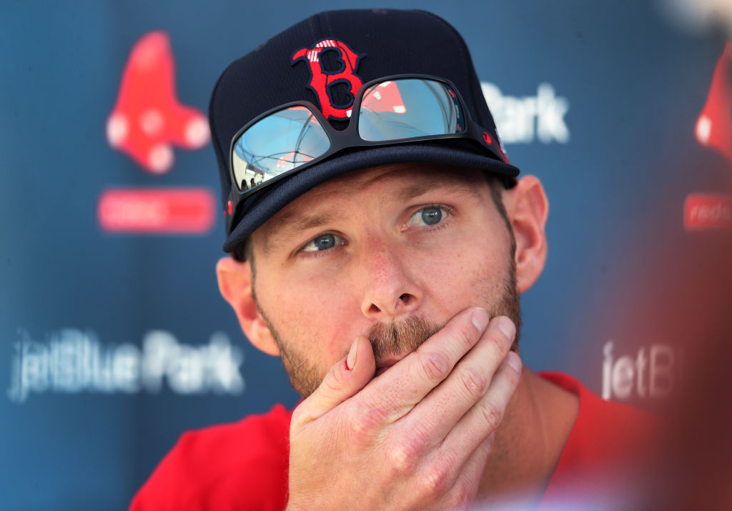 Boston Red Sox pitcher Chris Sale speaks to the media