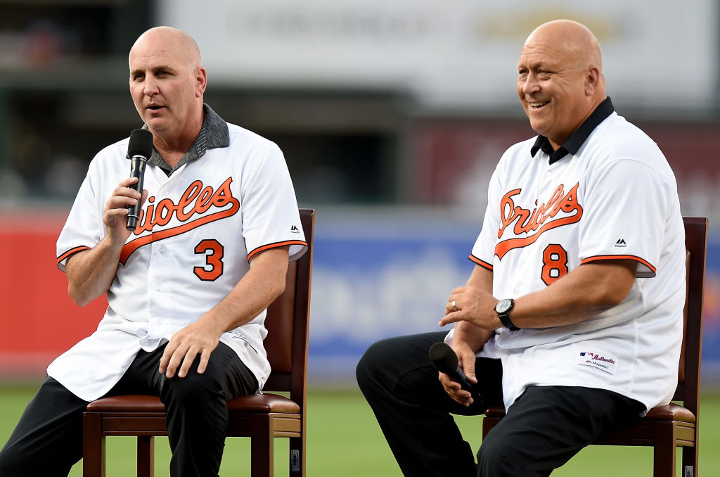 Cal and Billy Ripken talking to the crowd at an Orioles game