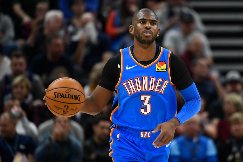 Chris Paul dribbling the ball up the court during a Thunder game