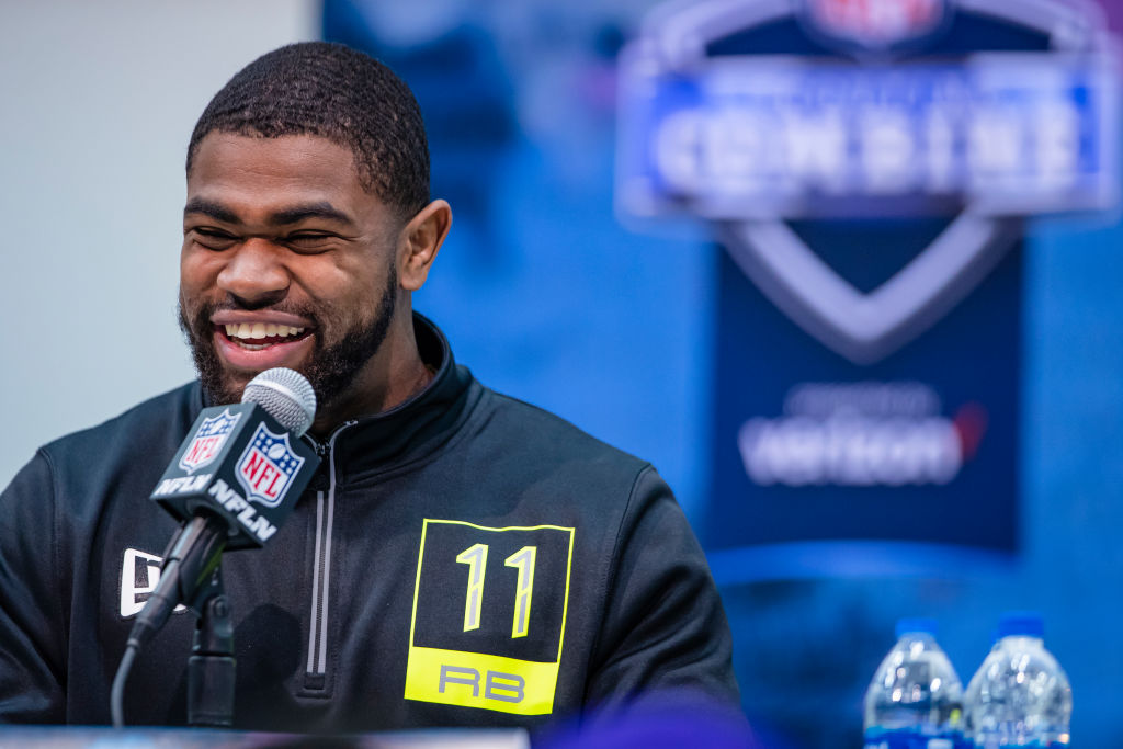 Clyde Edwards-Helaire talking to the media at the NFL combine