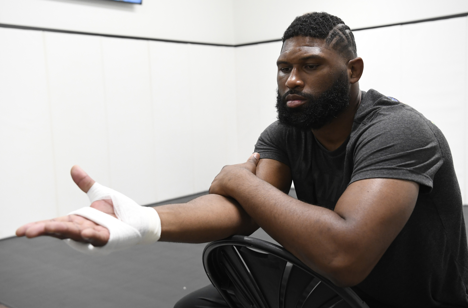 Curtis Blaydes getting his hands taped up before a UFC fight